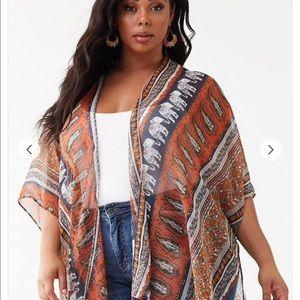 Forever 21 Plus size (2X/3X) Print Kimono